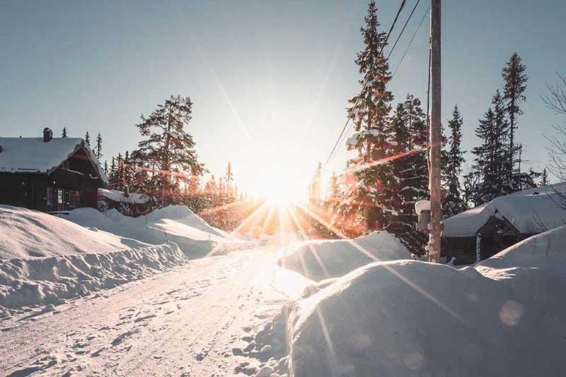 napsütés, tél, hó b